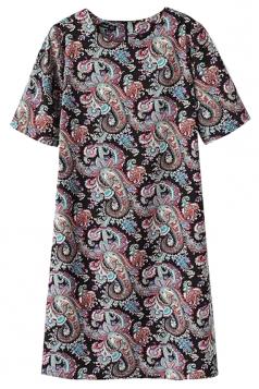Ladies Crew Neck Short Sleeve Cashew Flower Printed Shift Dress