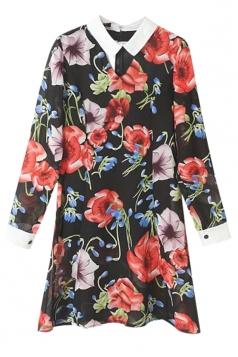 Black Ladies Chiffon Flower Printed Ruffle Shirt Dress