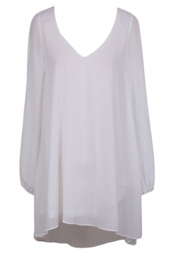Womens V Neck Long Sleeve Plain Ruffle Chiffon Smock Dress