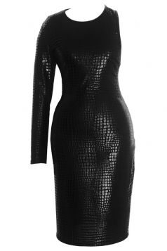Black Ladies One Sleeve Snake Skin Printed Leather Dress
