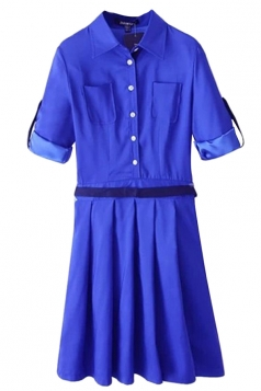 Blue Sexy Ladies Turndown Collar Pocket Pleated Shirt Dress