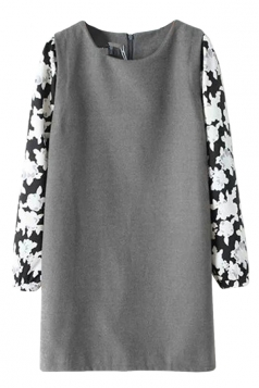 Ladies Crew Neck Floral Long Sleeve Patchwork Chiffon Shift Dress