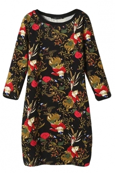 Black Womens Crew Neck Floral Long Sleeve Sweater Dress