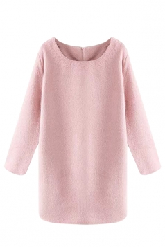 Pink Sexy Ladies Crew Neck Long Sleeve Plain Tweed Shift Dress