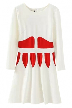 White Fashion Womens Crew Neck Color Block Pleated Smock Dress