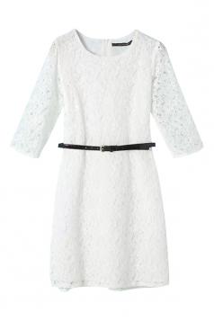 White Ladies Crew Neck Belt Plain Lace Long Sleeve Dress