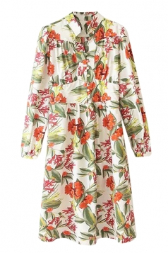 Rose Red Ladies Turndown Collar Flower Printed Smock Shirt Dress