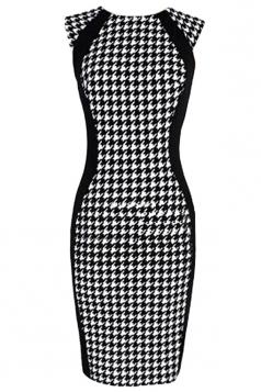 Black Vintage Womens Plaid Houndstooth Fashion Bodycon Dress