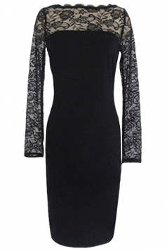 Black Lace Patchwork Sexy Ladies Long Sleeves Chic Dress