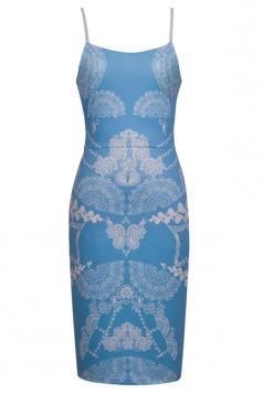 Blue Womens Slim Floral Spaghetti Straps Fancy Tank Dress