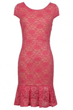 Pink Fancy Lace Womens Sexy Fishtail Sheer Clubwear Midi Dress