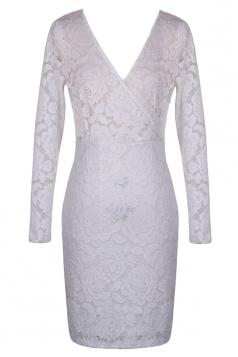 White V Neck Lace Sexy Slim Wrap Elegant Clubwear Midi Dress