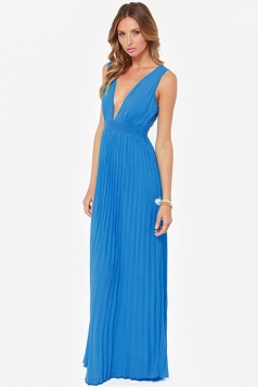 Blue Trendy Womens V-neck Sleeveless Backless Maxi Dress