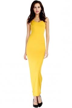 Yellow Pretty Ladies Crew Neck Sleeveless Plain Tank Maxi Dress