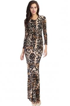 Khaki Womens Crew Neck Long Sleeve Leopard Mermaid Maxi Dress