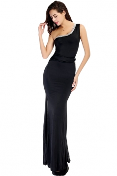 Black Pretty Ladies Sleeveless Slit One Shoulder Maxi Dress