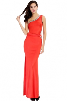 Red Pretty Ladies Sleeveless Slit One Shoulder Maxi Dress
