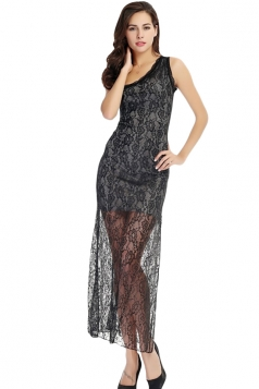 Black Sexy Ladies One Shoulder Lace Slit Sheer Midi Dress