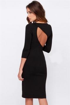Black Trendy Sexy Womens Back Open Slit Bodycon Dress