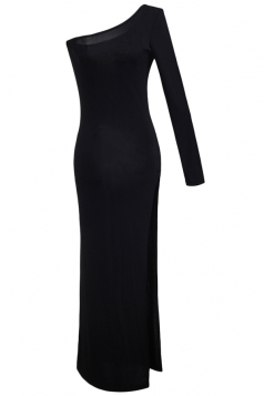 Black One Shoulder Sexy Slit Womens Elegant Plain Maxi Dress
