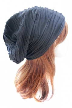 Black Pleated Womens Chic Casual Hat