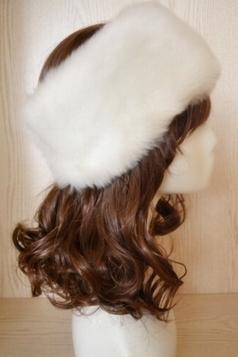 White Faux Fur Headband Cossack Fashion Womens Hat