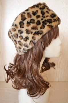 Yellow Leopard Ladies Cossack Headband Faux Fur Hat