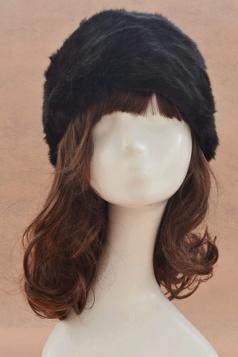 Black Ladies Warm Winter Cossack Faux Fur Hat