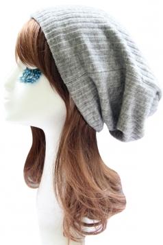 Gray Trendy Ladies Plain Thick Wool Hat