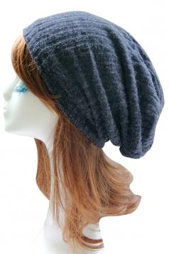 Navy Blue Trendy Ladies Plain Thick Wool Hat