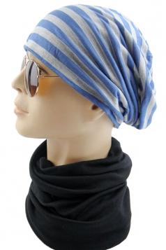 Navy Blue Pretty Womens Stripe Printed Hip-pop Cap Hat