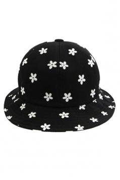Black Modern Ladies Color Block Daisy Printed Hat