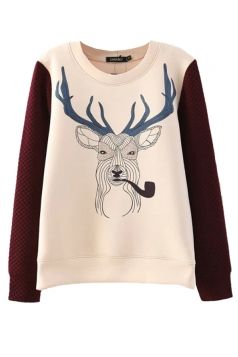 Ladies Crew Neck Smoking Reindeer Pullover Printed Sweatshirt