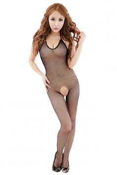 Black Halter Mesh Plain Sheer Open Crotch Lingerie Teddy