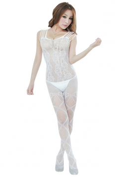 White Womens Lingerie Jacquard See Through Open Crotch Teddy