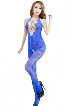 Blue Halter Womens Lace Open Crotch Erotic Lingerie Teddy