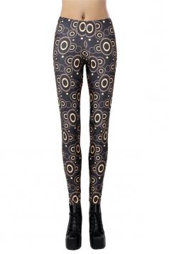 Black Modern Womens Circles Printed Geometric Leggings