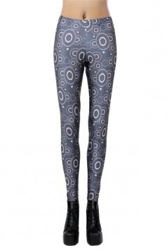 Black Trendy Ladies Ripple Printed Geometric Leggings
