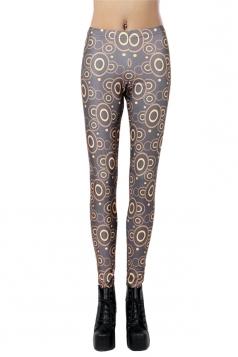 Black Pretty Womens Ripple Printed Geometric Leggings