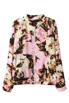 Pink Vintage Ladies Ink Painting Stand Collar Zipper Jacket