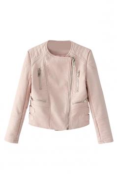 Pink Slim Ladies Zipper PU Leather Cool Vintage Jacket
