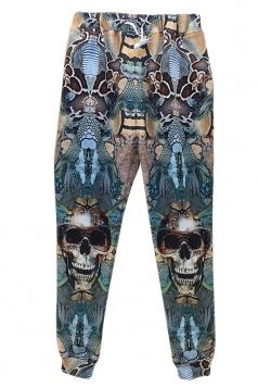 Green Womens Horror Skull Snake Printed Jogger Sweatpants