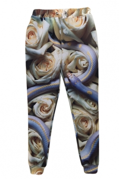 Beige Roses Snake Printed 3D Womens Scary Sweatpants