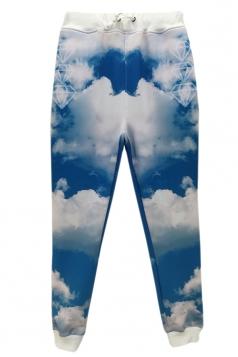 Blue 3D Clouds Printed Fashion Jogging Sweatpants