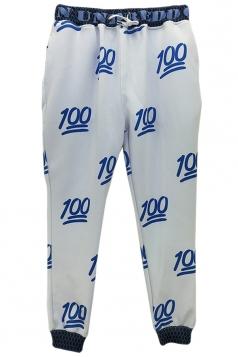 White Fashion Womens Loose Jogger Sweatpants