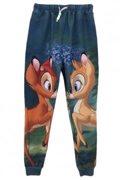 Green Womens Cute Bambi Printed Casual Sweatpants