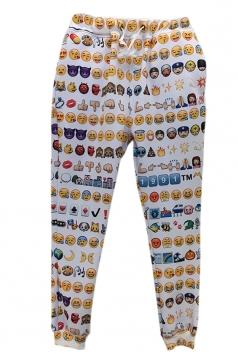 Yellow Funny Ladies Emoji Printed Jogger Sweatpants