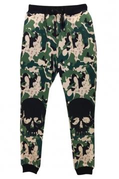 Green Womens Skull Camo Printed Cool Sweatpants
