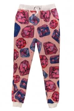 Rose Red Cute Womens Diamonds Printed Sweatpants