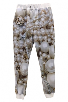 White 3D Womens Pearl Jewelry Printed Casual Sweatpants